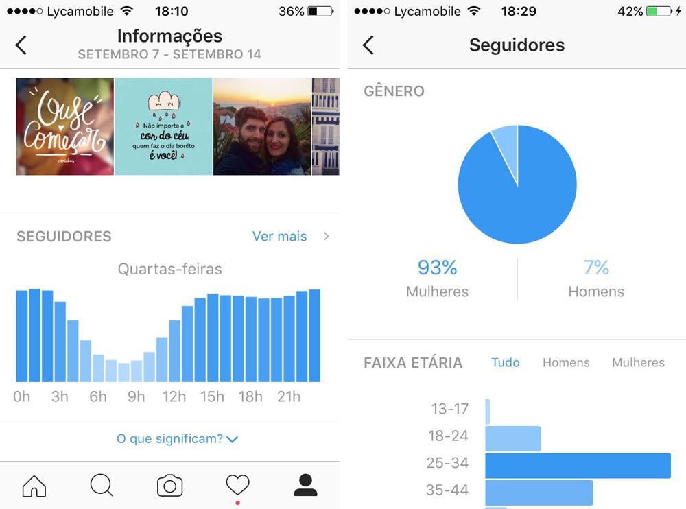 Ao clicar no botãozinho das estatísticas do Instagram, você vê os horários que seus seguidores mais ficam online e dados sobre eles