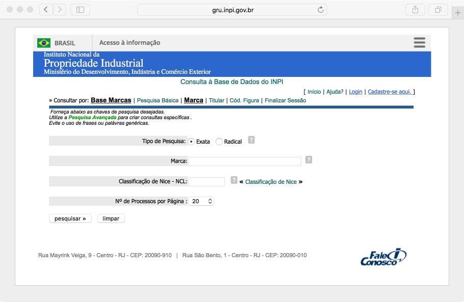 Você pode pesquisar online por registro no INPI direto no site: gru.inpi.gov.br