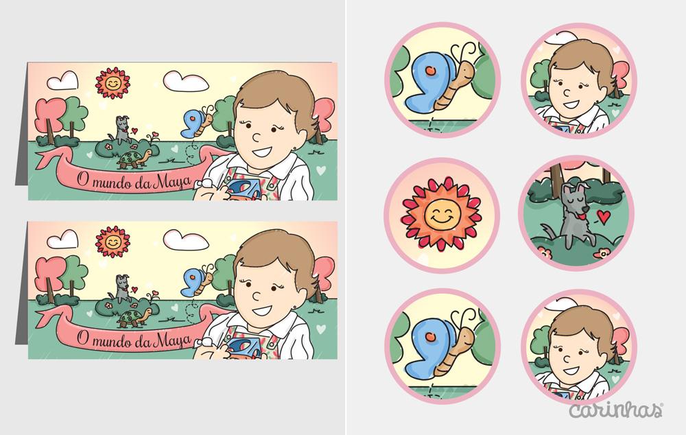 Retângulos para colocar na mesa e bolinhas pra enfeitar a festa com os personagens do mundo da Maya