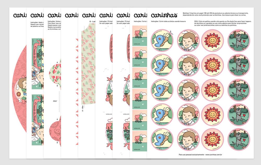Assim são os arquivos: folhas A4 com instruções de impressão e montagem