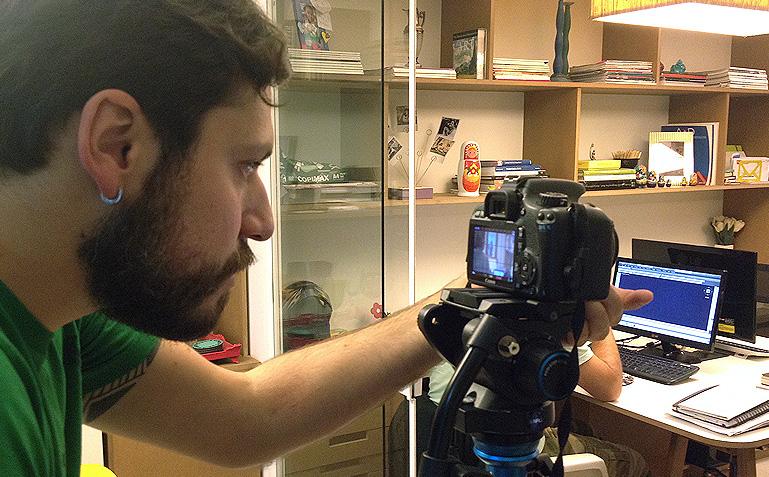Brener, da Imagética Filmes, focado na filmagem