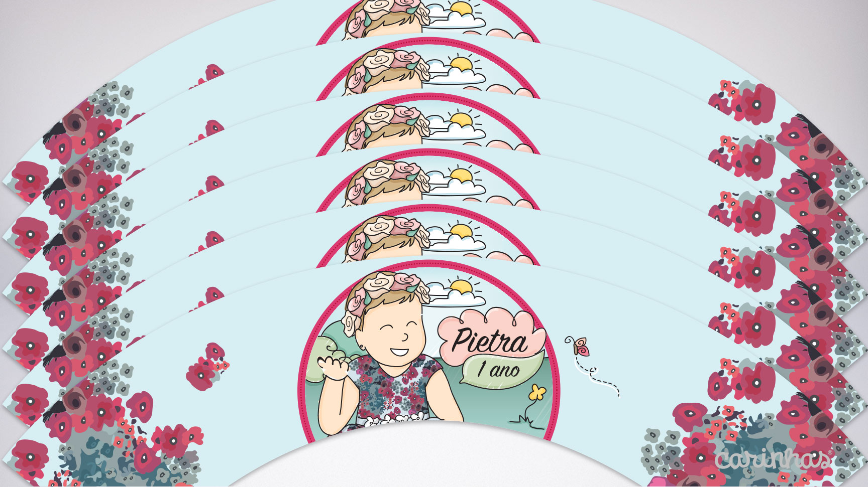 Wrapper para cupcake é um dos itens da festa digital para imprimir