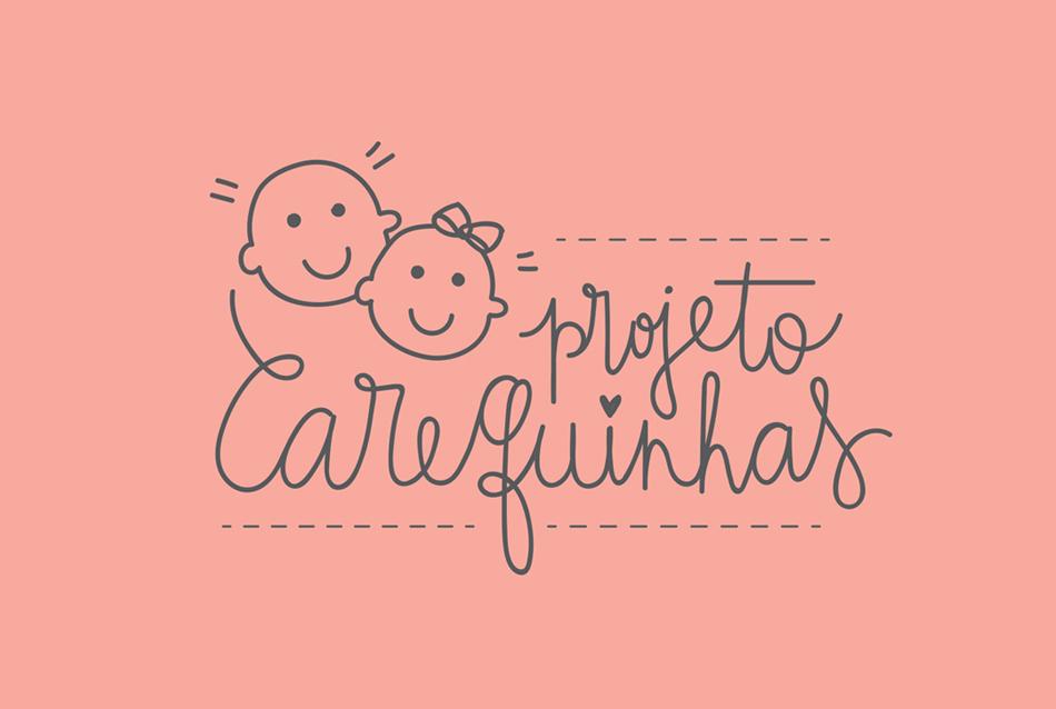 Caligrafia para o Projeto Carequinhas: A Ana reuniu várias voluntárias para fabricar bonequinhos e doar para as crianças da oncologia. Uma camiseta com a logo será vendida para arrecadar fundos.