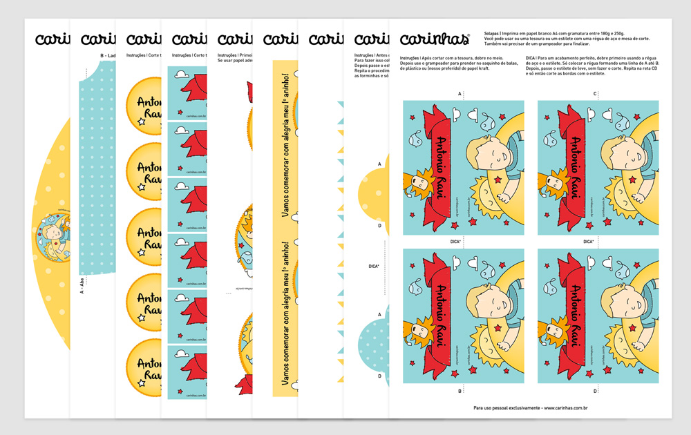 Você recebe a festa digital para imprimir assim: cada item separadinho em folhas A4 com instruções