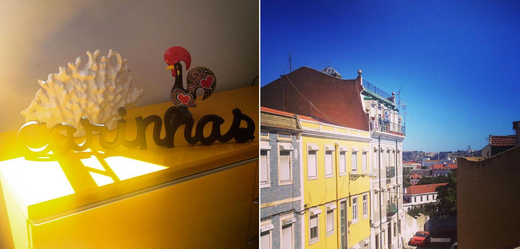 """Detalhes do nosso primeiro apê Lisboeta via AirBnb: a palavra """"carinhas"""" que trouxemos e a vista da janela"""