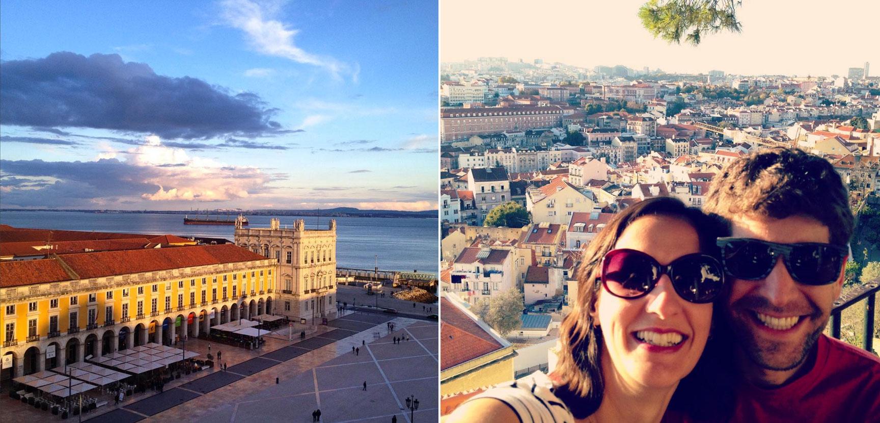 Mudar de país é ver muita coisa nova e se encantar a cada esquina. A Praça do Comércio e a vista do Castelo de São Jorge, em Lisboa