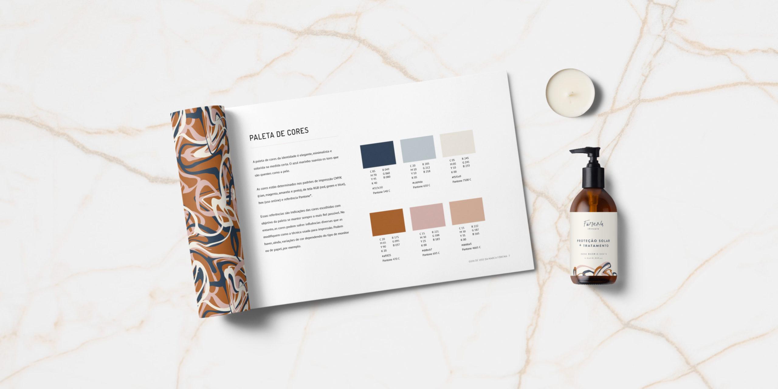 São diversas questões técnicas para ter cuidado, ao fazer uma marca. No Guia de Uso da Förena, você vê os detalhes da paleta de cores. Clique aqui e veja o projeto completo.
